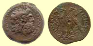 A coin of Ptolemy VI produced with the name of his mother, Queen Cleopatra (the first)