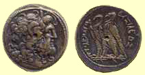 What is the significance of the two eagles on many Ptolemaic bronze coins?